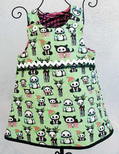 Rockabilly Skelanimal Baby Girl Holiday Dress Reversable. $30.00, via Etsy.
