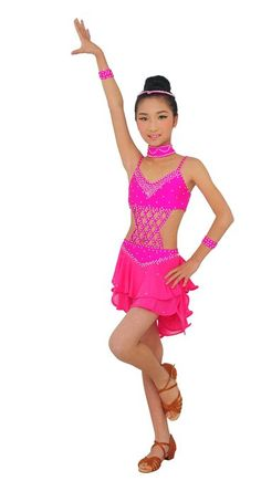 Colorfulworldstore Girls/Lady Latin salsa cha cha tango Ballroom Dance Dress-Over all 4sets-Gauze Tail tyles (Child L/115cm High, Pink)