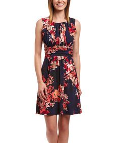 Another great find on #zulily! Navy & Red Floral Empire-Waist Dress #zulilyfinds