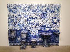 ANN AGEE Lake Michigan Bathroom (II), 2014 Porcelain and stoneware 98 3/4 × 121 1/2 × 22 in