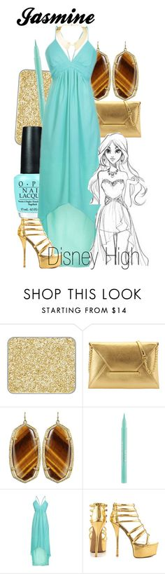 """Jasmine Disney High"" by amarie104 ❤ liked on Polyvore featuring shu uemura, Nine West, Kendra Scott, Stila, Disney, Qupid and Maiyet"
