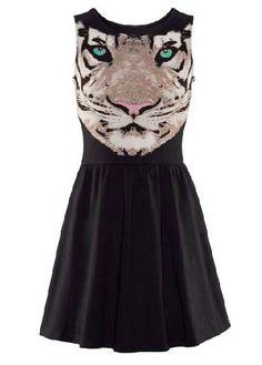 Stylish Tiger Print Tank Pattern A Line Dress | Rosewe.com