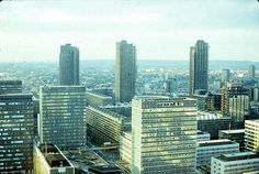 London: from roof of Drapers Gardens, EC2 1980, showing the rebuilt City of London, with the Barbican in the background.