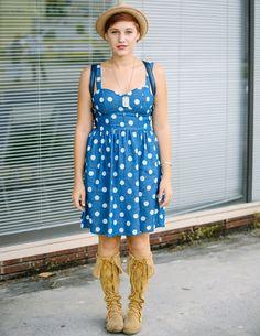 Bold polka dots on Street Style in Savannah, Georgia.