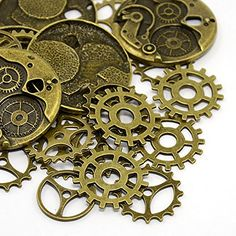 25pc Steampunk Gears, Charms, Antique Bronze Heart Rock Beads