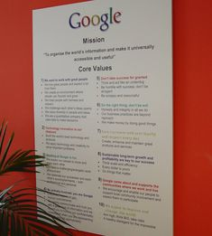 company values on wall - Google Search