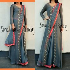 Saree wearing styles - Jacket with saree New edge hand embroidered design to wear saree in glamorous style by Sonal and pankaj Whatsapp for orders and bookings at 25 September 2018 Saree Jacket Designs, Sari Blouse Designs, New Saree Designs, Saree Wearing Styles, Saree Styles, Indowestern Saree, Dhoti Saree, Lehenga, Kurti