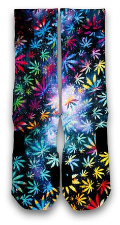 420 Fest Nike Custom Elite Socks. Celebrate 420 with this pair of multi-color weed custom elite socks. Featuring waves of vibrant colors leaves, paired with a starry galaxy background. Rock this anywhere with any kicks.