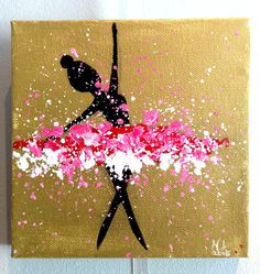 A red, white and pink tutu dancer. Part of a dancer painting series. His tutu is bright and expressive. While she moves, s … - Decorationn Ballerina Kunst, Ballerina Painting, Art N Craft, Diy Art, Fabric Painting, Painting & Drawing, Acrylic Art, Creative Art, Amazing Art