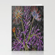 psychedelic blooming flowers Stationery Cards