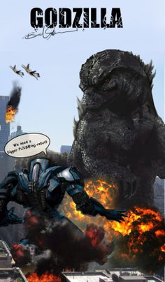 Comical fan art of Godzilla vs. Gipsy Danger from Pacific Rim - Godzilla 2014 Gallery