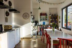 Kitchen interior.  The kitchen at Ostello Bello Hostel in Milan, Italy
