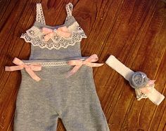 Newborn Girls Photo Prop -Upcycled Sweater Set - Newborn Overalls - Newborn Photo Prop - Newborn Headband