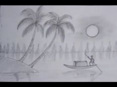 Pencil Drawing ~ How to draw a scenery sunset Pencil drawing - YouTube
