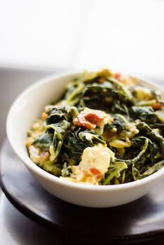 Creamed Morogo with Feta Try kale . or dandelion leaves? South African Recipes, Ethnic Recipes, Kale, Feta, Meal Prep, Dessert Recipes, Desserts, Side Dishes, Spicy