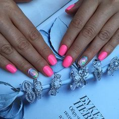 Accurate nails, Bright summer nails, Nails ideas 2016, Nails trends 2016, Nails with stickers, Pink manicure ideas, Plain nails, Rainbow nails