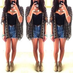 crop top with cardigan | High wasted shorts + crop top and cute cardigan