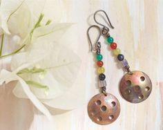 Copper earrings Stone earrings Silver earrings by FlowerOfParadise