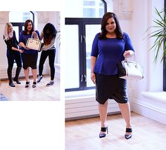 """A peplum is a universally flattering silhouette especially when you have a larger waist (like moi). I wanted to pair the peplum top with something sleek, like a cool asymmetrical faux leather skirt. The outfit really worked with these mules, which are so on-trend! It's a look that can take you from the work place to a night out. This made me feel a little bit like 'Yonce!"""
