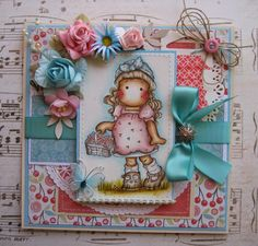 Tilda with cherry basket hand made greeting card by Patricia Garcia