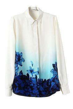 Blusas impresa azul