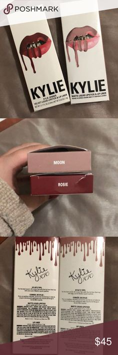 Bundle of Rosie and Moon liquid lip! bundle of 2 kylie lip kits! 100% authentic!!! didn't like the color on me. only switched on hands!! rosie and moon Kylie Cosmetics Makeup Lipstick