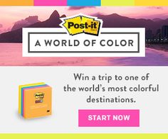 Escape to a colorful destination with the Post-it® A World of Color sweepstakes.Sign up today