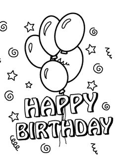 happy birthday coloring pages with balloons for kids - Coloring Pages For Happy Birthday