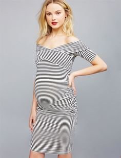 Off The Shoulder Bodycon Maternity Dress | A Pea in the Pod Maternity