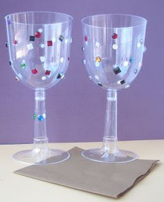 Crack of Dawn Crafts: Knight Birthday Party Goblet Craft -- plastic wine goblet with stick on jewels