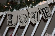 Handpainted Canvas Banner Love by Refurbology on Etsy, $25.00