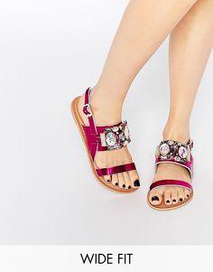 Image 1 of ASOS FLASH Wide Fit Embellished Flat Sandals