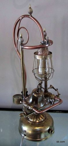 Functional Steampunk lamp for a collector of brass bells