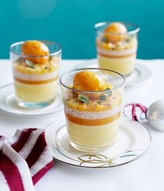 Passionfruit posset with mango and passionfruit sorbet and coconut tapioca