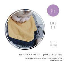 Baby bib. Boho Bib. PDF sewing pattern. Baby tutorial. Kids sewing patterns