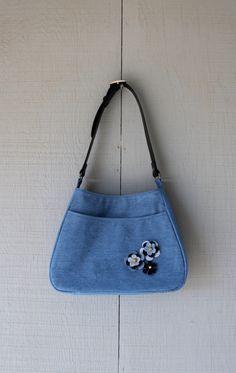 Denim Handbag with Large Front Pocket Accented with Denim Flowers, Shoulder Strap Designed from Dark Blue/Black Leather Belt - 463242161 by AllintheJeans on Etsy