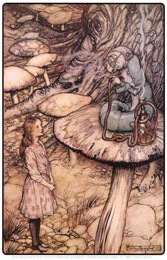 Arthur Rackham Alice in Wonderland The Rabbit Sends in a Little Bill painting is shipped worldwide,including stretched canvas and framed art.This Arthur Rackham Alice in Wonderland The Rabbit Sends in a Little Bill painting is available at custom size. Arthur Rackham, Lewis Carroll, Caterpillar Art, Alice In Wonderland Illustrations, Illustrator, Chesire Cat, Edmund Dulac, Fairytale Art, Adventures In Wonderland