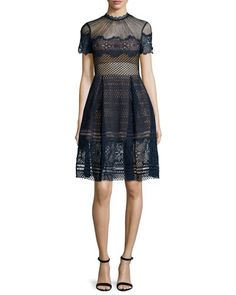 Felicia Embroidered Midi Dress, Navy $530 Bergdorf Goodman