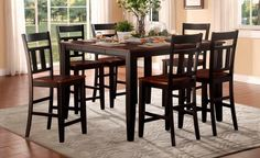 7 pc Kirtland collection black and cherry finish wood counter height dining table set with wood top seats