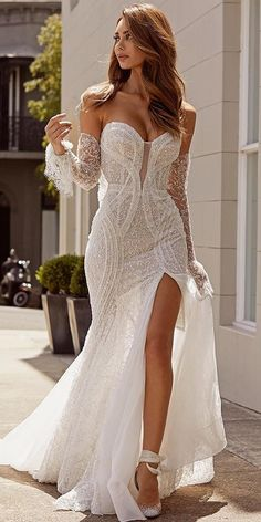 27 Unique & Hot Sexy Wedding Dresses ❤️ sexy wedding dresses ideas sweetheart neckline with detached sleeves slit pallas couture Mermaid Sexy Deep V-back Wedding Dress.The professional tailors from wedding dress Slit Wedding Dress, Sexy Wedding Dresses, Princess Wedding Dresses, Unique Dresses, Sexy Dresses, Bridal Dresses, Unique Wedding Dress, Mermaid Dresses, Sexy Gown