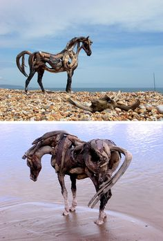 Driftwood Horses by artist Heather Jansch.     I would like to make one of these with an artist some day. Someone made one at Alder Lake and I saw it. Wish I had stopped and taken a picture!
