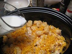 Chicken Tator tot Dish  2 boneless chicken breasts cut into pieces tator tots 1/2 c bacon pieces 2 c cheddar cheese 3/4 c milk or cream salt and pepper  Grease large crockpot  Layer half the tots, then half bacon and half cheese.  Now, the chicken.  Salt and pepper.  Repeat layers of tots, bacon, cheese.  Next, pour milk over. Cover and bake on low for 6 hours.