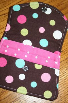 Mini WalletCredit Card Holder Brown Polka Dots by LRevall on Etsy, $5.00