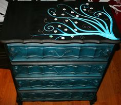 Home › FunkyArtGuy › Hand Painted Furniture Made To Order Custom Furniture by Rick Cheadle I'd like this with teal and silver (instead of black) Hand Painted Furniture, Funky Furniture, Refurbished Furniture, Repurposed Furniture, Furniture Projects, Custom Furniture, Furniture Making, Furniture Makeover, Painting Furniture