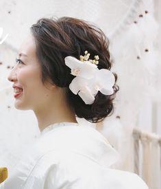 Wedding Hair Brunette, Brunette Hair, Japanese Wedding, Japanese Brides, Cute Hairstyles, Wedding Hairstyles, Wedding Kimono, Kimono Fashion, Wedding Makeup