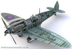Cutaway illustrations of a Supermarine Spitfire