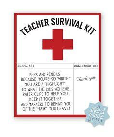 Teacher Survivial Kit - Free Printable
