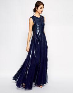 a6e11215254 Resultado de imagem para ASOS Holographic Strip Fit and Flare Maxi Dress