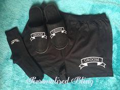 Groom gift set , Groom boxers , Groom socks , Groom slippers , black boxers , black socks , black slippers , personalised slippers , Groom by personaliseddiamante on Etsy