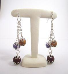 Boucle d'oreille fantaisie composée de 3 perles : Boucles d'oreille par mix-mania _______________ Jewelry clay polymer